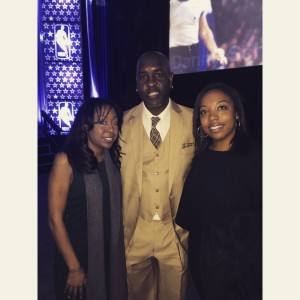 "NZ Group's Tina and Alexis with Gary ""The Glove"" Payton"